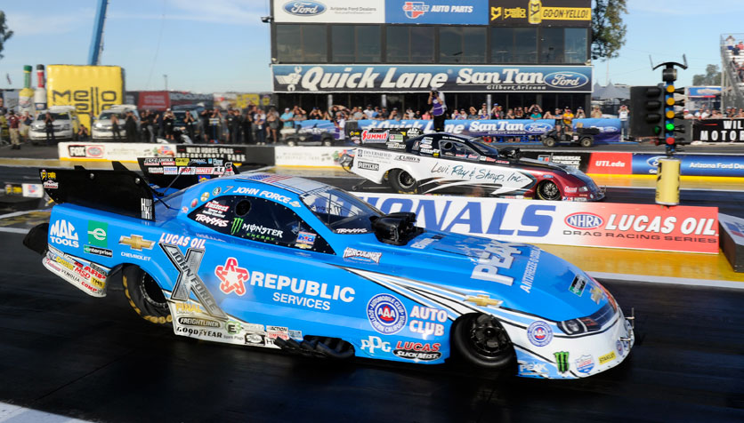 John Force (near) was defeated by Tim Wilkerson in the NHRA Funny Car final last weekend at the Wild Horse Pass Motorsports Park in Chandler, Arizona.